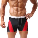 Baleaf Men's Fashion Gradient Color Swimwear (RedBlack, L)