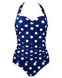 1950s Retro Vintage One Piece Monokini Navy Blue with White Polka Swimsuits Swimwear XXXXL(FBA)