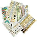 Temporary Tattoos - Flash Metallic Gold Colors (5 Premium Sheets)