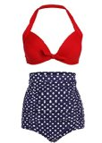 Cocoship Retro Red Top and White Polka High Waisted Bikini Swimsuits Swimwear M(FBA)