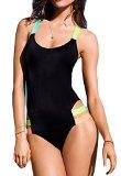 Halife Women's Fluorescent Strap One-piece Bikini Monokini Swimwear (L, Black)
