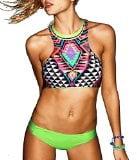 Lollilook Sexy Halter High Neck Bikini Set Backless Beachwear Swimwear (M, Green)
