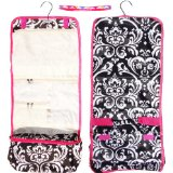 Top 2016 Large Damask with Pink Trim Hanging Toiletries Cosmetic Makeup Travel Bag Case Back To School Dorm Essential Supplies Shower Caddy Travel with Headband Unique Gift Ideas for Women Juniors Teens by TravelNut (Style 5)