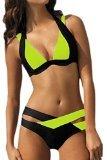 Roswear Women's Padded Color Block Push Up Bikini Swimsuits Neon Yellow X-Large
