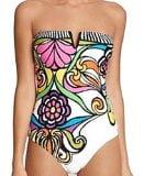 XQS Womens Vintage Flower Print Halter One Piece Bikini Swimwear as picture L