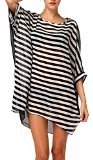 DQdq Sexy Women's Oversized Striped Beach Bikini Swimwear Cover-up