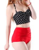 HDE Women Vintage 50s Pinup Girl Rockabilly High Waist Retro Bikini Swimsuit Set (Polka Dot Bustier with Red Bottom, XX-Large)